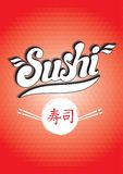 Calligraphic inscription sushi on a red background Stock Photography