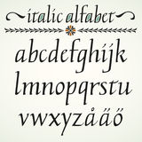 Calligraphic italic alphabet Stock Photo