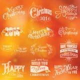 Calligraphic kort för jul stock illustrationer