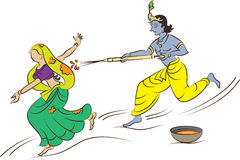 Calligraphic Krishna Playing Holi Stock Photos