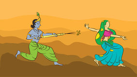 Calligraphic Krishna Playing Holi Stock Images