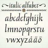 Calligraphic kursivt alfabet Arkivfoto