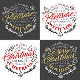 Calligraphic lettering for Merry Christmas and Happy New Year  with golden glitter effect on dark background Stock Image