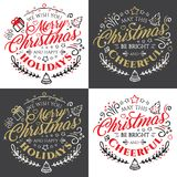 Calligraphic lettering for Merry Christmas and Happy New Year with golden glitter effect on dark background Royalty Free Stock Photography