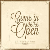 Calligraphic lettering - we open Stock Photo