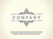 Calligraphic Luxury line logo. Flourishes elegant emblem monogram. Royal vintage divider design Royalty Free Stock Photo