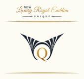 Calligraphic Luxury line logo. Flourishes elegant emblem monogram. Royal vintage divider design royalty free illustration