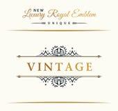Calligraphic Luxury line logo. Flourishes elegant emblem monogram. Royal vintage divider design Stock Photo