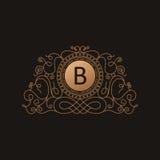 Calligraphic Luxury logo. Emblem elegant decor elements. Vintage Royalty Free Stock Photography