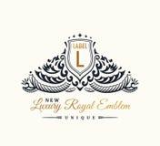 Calligraphic lyxig linje elegant emblemmonogram för krusidullar Kunglig tappningavdelardesign stock illustrationer