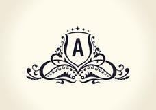 Calligraphic lyxig linje elegant emblemmonogram för krusidullar Kunglig tappningavdelardesign Royaltyfri Fotografi