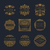 Calligraphic lyxig linje logo Elegant emblemmonogram för krusidullar Kunglig tappningavdelardesign stock illustrationer