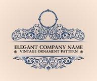 Calligraphic lyxig logo Eleganta dekorbeståndsdelar för emblem Tappning Arkivbild