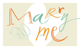 Calligraphic Marry Me stock photo