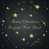 Calligraphic `Merry Christmas Happy New Year` Lettering with Gold Stars. Christmas Greeting Card. Calligraphic `Merry Christmas Happy New Year` Lettering with Royalty Free Stock Image