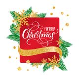 Calligraphic Merry Christmas Lettering Decorated text on red frame background   Stock Images