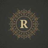 Calligraphic monogram emblem template design. Stock Images