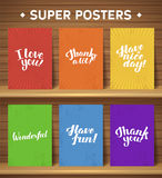 Calligraphic motivate poster set Royalty Free Stock Image