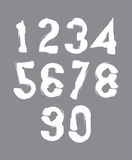 Calligraphic numbers drawn with ink brush, white vector numbers Royalty Free Stock Image