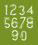 Calligraphic numbers drawn with ink brush, white vector numbers Royalty Free Stock Images
