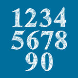 Calligraphic numbers, vector numeration. Royalty Free Stock Image