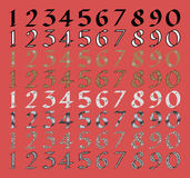 Calligraphic numeral set with different fills Royalty Free Stock Image