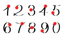 Calligraphic numerals. Set of calligraphic numerals. Japanese style Stock Photography
