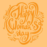 Calligraphic phrase Happy Woman s day with ornamental elements, lettering poster and postcard. Typography and calligraphy text Stock Photos
