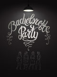 Calligraphic poster for bachelorette party with pretty girls on chalkboard. Vector illustration. Eps 10. Calligraphic poster for bachelorette party with pretty royalty free illustration
