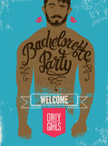 Calligraphic poster for bachelorette party with a tattoo on a man's body. Vector illustration. Stock Photography