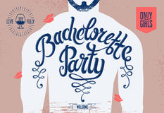 Calligraphic poster for bachelorette party with a tattoo on a man's body. Vector illustration. Royalty Free Stock Image