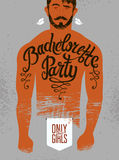 Calligraphic poster for bachelorette party with a tattoo on a man's body. Vector illustration. Calligraphic poster for bachelorette party with a tattoo on a man royalty free illustration