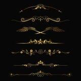 calligraphic prydnad för designelementguld Arkivbild