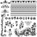 Calligraphic prydnader, gränser, karaktärsteckningar Arkivbilder