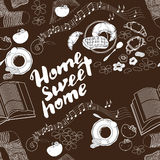 Calligraphic quote 'Home sweet ' on brown background. Seamless pattern with hand drawn lettering. Calligraphic quote 'Home sweet home' on brown background with royalty free illustration