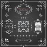 Calligraphic ramar för svart tavla och sidagarnering Arkivbild