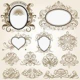 Calligraphic ramar och designbeståndsdelar Royaltyfri Foto