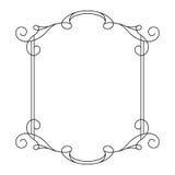 Calligraphic rektangelram för tappning med virvlar royaltyfri illustrationer