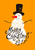 Calligraphic retro Christmas card design with snowman. Grunge vector illustration. Royalty Free Stock Photo
