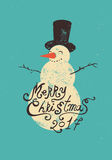 Calligraphic retro Christmas card design with snowman. Grunge vector illustration. Royalty Free Stock Images