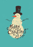 Calligraphic retro Christmas greeting card design with snowman. Grunge vector illustration. Royalty Free Stock Photo