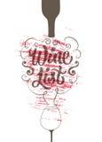 Calligraphic retro grunge style wine list design. Vector illustration. Stock Photography