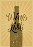 Calligraphic retro grunge style wine list design. Vector illustration. Royalty Free Stock Photo