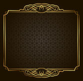 Calligraphic Retro vector gold frame on dark background Stock Photo
