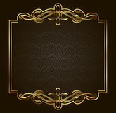 Calligraphic Retro vector gold frame on dark background Royalty Free Stock Photography
