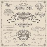 Calligraphic and ribbon banner design elements. Eps 10 vector stock illustration royalty free illustration