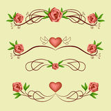 Calligraphic romantic dividers with roses Royalty Free Stock Image