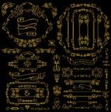 Calligraphic Royal Decor Elements.Gold Frames,borders,ribbons Royalty Free Stock Photos