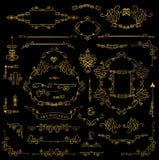 Calligraphic Royal Design Elements set.Gold Frames, Borders, Swi Stock Photography