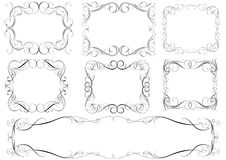 Calligraphic set frames. Set of calligraphy swirl frame design and elements, black colored.Each of them group singly Royalty Free Stock Images